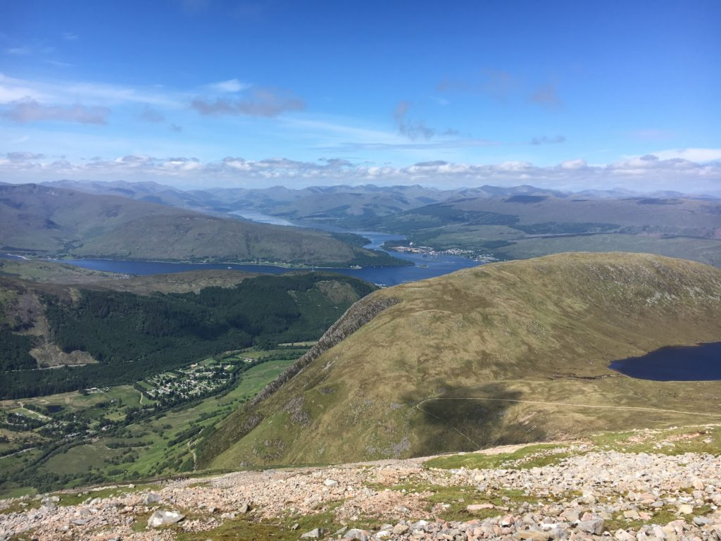 Looking down the Glen Nevis Valley towards Loch Linnhe (mid-left) and Loch Eil (branching away to the left)